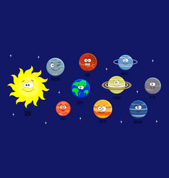 set of cartoon solar system planets sol vector image