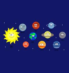 set of cartoon solar system planets sol vector image