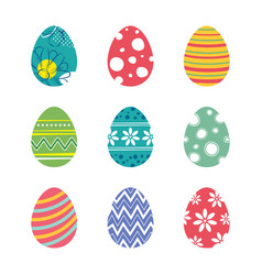 Set of easter eggs isolated in white background vector