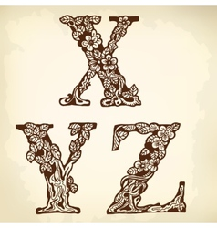 Set of letters XYZ vector image