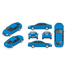 Set of sedan cars isolated car template for vector