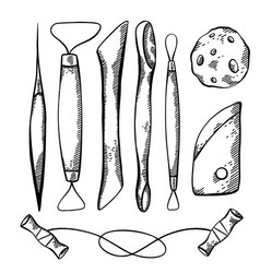 set sketch tools for pottery and sculpting vector image