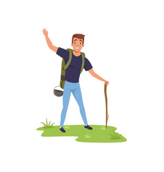 Smiling man standing with backpack and stuff vector