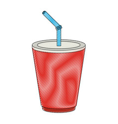 soda in palstic cup vector image