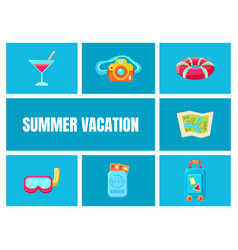 summer vacation cartoon icons set travel vector image