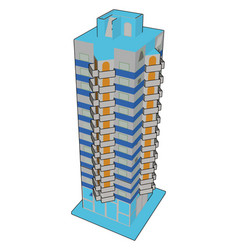 tall blue building on white background vector image