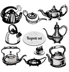 teapots set vector image