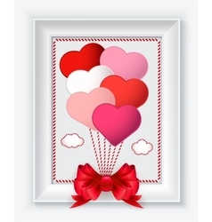 Valentines day card with hearts and red bow in vector image