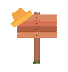 White background with wooden board and straw hat vector
