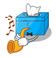 With trumpet cartoon tissue box on a sideboard vector