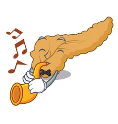 With trumpet pancreas mascot cartoon style vector