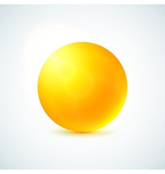 Yellow glossy sphere isolated on white vector
