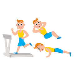 young man doing sport exercises training push vector image