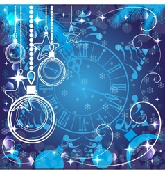 blue Christmas background with clock vector image