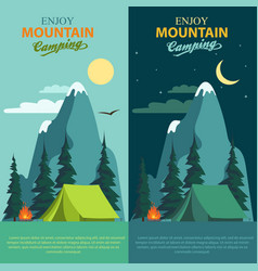 camping adventure bonfire fire and tent vector image