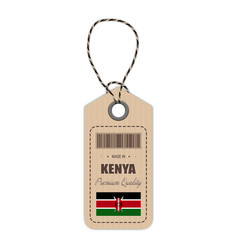 hang tag made in kenya with flag icon isolated on vector image vector image