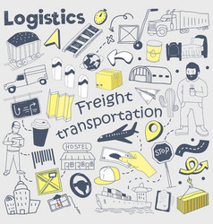 logistics service hand drawn doodle delivery vector image vector image