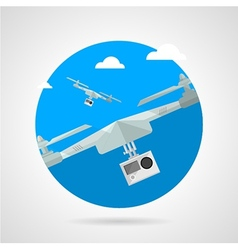 Quadrocopter with camera flat icon vector image