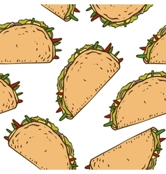 Seamless Pattern with Mexican Taco in Wheat vector image
