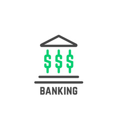 simple banking logo with abstract building vector image vector image