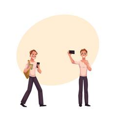 Young man using smartphone walking making selfie vector