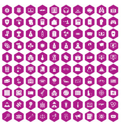 100 hacking icons hexagon violet vector image vector image