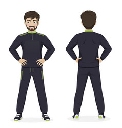 Man playing sport with green and black sportswear vector