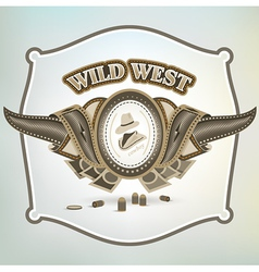 wild west cowboy element emblem vector image