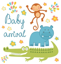 Baby arrival jungle animals vector image vector image