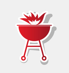 barbecue with fire sign new year reddish vector image vector image