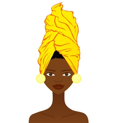 Beautiful African woman with traditional headgear vector image vector image