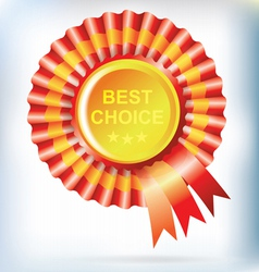 best choice red label with ribbons vector image