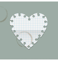 Heart paper note with coffee stains vector image vector image
