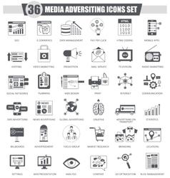 Media adversiting black icon set Dark grey vector image vector image