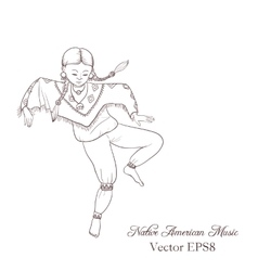 Native american dancing indian girl in vector