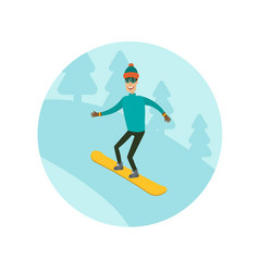 a man boy young person snowboarding in the vector image