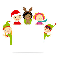 Kids dressed in Christmas costumes vector image