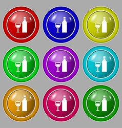 Wine Icon sign symbol on nine round colourful vector image