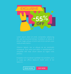 55 off exclusive discount logotype with dress vector