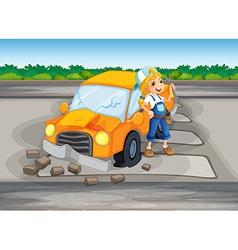 A girl repairing damaged car at road vector