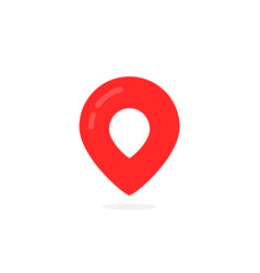abstract geotag logo and red map pin icon vector image