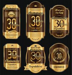 Anniversary golden retro vintage labels vector