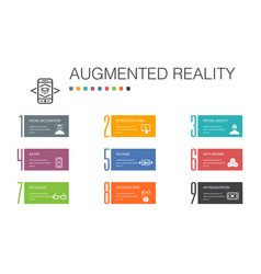 Augmented reality infographic 10 option line vector