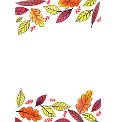 Autumn leaves outline drawing with watercolor vector
