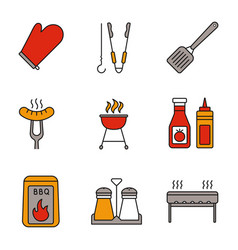 Barbecue color icons set vector