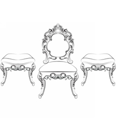 Baroque Rich style furniture vector