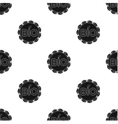 Bio label icon in black style isolated on white vector