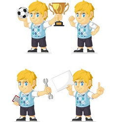 Blonde Rich Boy Customizable Mascot 18 vector