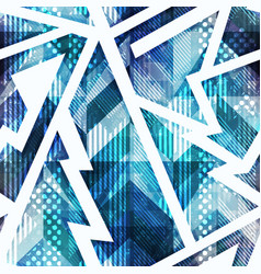 Blue grunge geometric seamless pattern vector