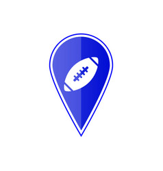Blue map pointer with football ball vector
